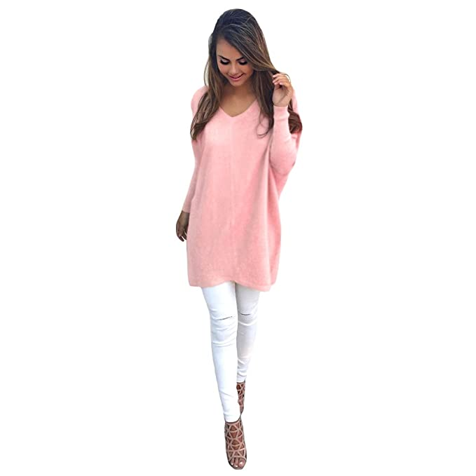 ff546629b9c Romacci Women Autumn Winter Sweater V-Neck Loose Knitted Oversized Baggy Sweater  Jumper Tops Dress Plus Size Outerwear Pink  Amazon.co.uk  Clothing