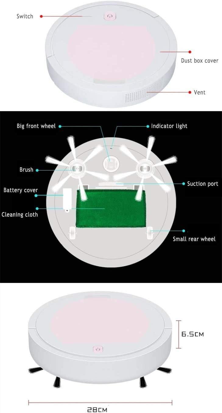 LLDKA Aspirateur Robot par Balayage Intelligent 3 en 1, aspirateur Rechargeable pour Un Usage Domestique Ultrafine, Un Robot de Nettoyage Automatique Intelligente,Rose Green