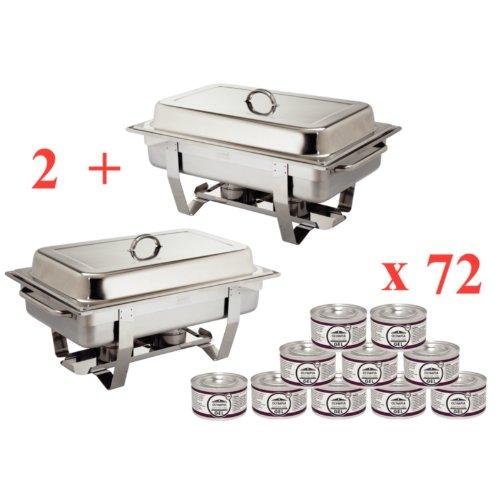 OFFERTA SPECIALE 2X Milan Chafing Dish con 72X PASTA COMBUSTIBILE LIQUIDO STERMINATORE Olympia