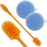 "AMGRACE Silicone Bottle Cleaning Brush 12"" & Multi-Purpose Silicone Scrubber Sponge - For Water Bottles, Drinking Glasses, Baby Bottles, Sport Bottles - Flexible Ergonomic Design Scratch-Free"