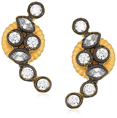 s Signature Cluster Stone Stud Earrings, Black & Gold, Size 0 (3 Stone Cluster Earrings)
