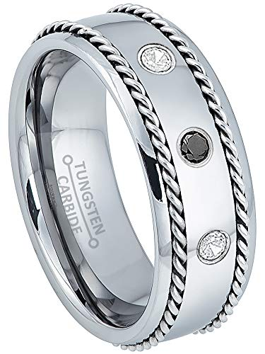 0.21ctw Black & White Diamond 3-Stone Mens Tungsten Ring - April Birthstone Ring - 8MM Comfort Fit Polished Dome Tungsten Carbide Wedding Band with Double Stainless Steel Rope Inlay - 12