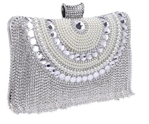 Metal Clutch Shoulder Ym1074silver Chain Evening Beaded Bag Purse Messenger Bags Evening Diamonds Wedding Eqw1rYE