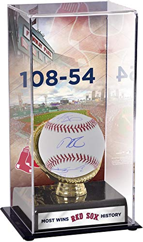 2018 Boston Red Sox Multi-Signed Baseball and Most Wins in Franchise History Gold Glove Display Case with Image - Fanatics Authentic Certified