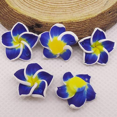 - Pukido 20pc/lot 20mm Yiwu Market Beautiful Soft Clay Polymer Fimo Plumeria Flower Beads Decorated Hawaii Earring Jewelry Craft Material - (Color: Borland)
