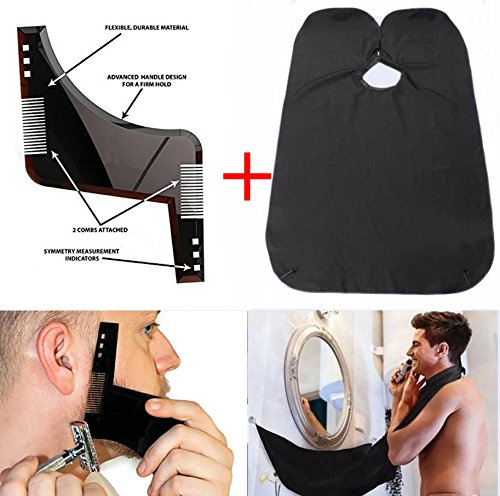 Price comparison product image HLBrand Beard Bib,  Beard Shaving Bib & Shaper Tool Set Adjustable Apron Best To Use With Trimmer to Catch Facial Hair Care Grooming Kit With Bonus Comb For Men