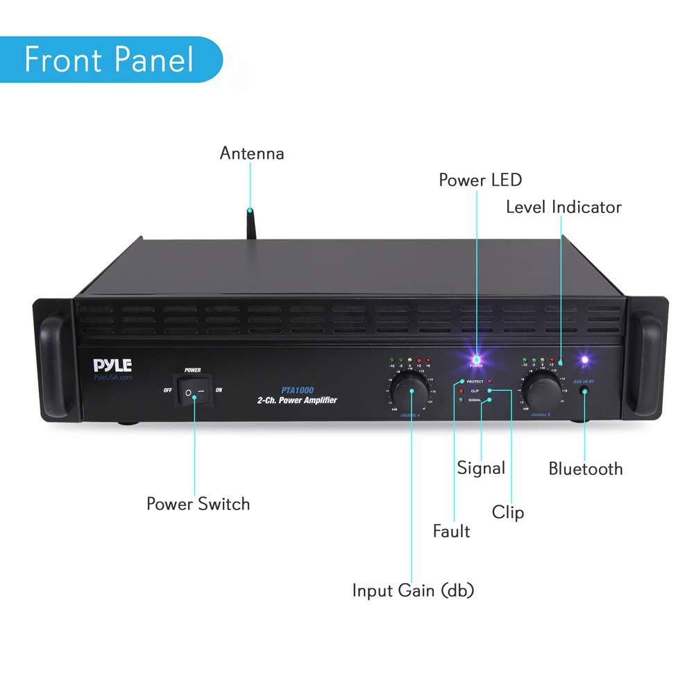 Led Audio Indicator Circuit Professional Bluetooth Power Amplifier 2 Channel Rack Mount Bridgeable Indicators Shockproof Binding Posts Cooling Fans 1000 Watt