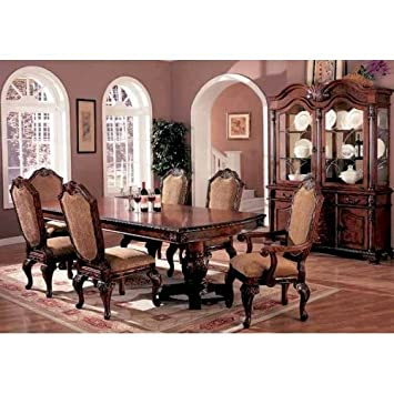 7pc Traditional European Style Dining Table Chairs Set