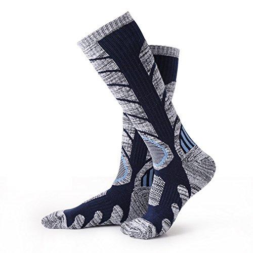 769b530946fa Matari Mens Cotton Thicken Climbing Skiing Hiking Winter Foot Warm Socks  (Dark Blue)