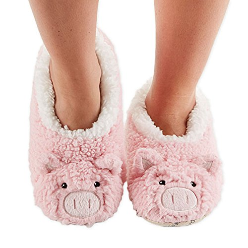 4e46ede43fd3 Snoozies Womens Animal Heads Sherpa Plush Fleece Lined Footcoverings Pig  Large - Buy Online in UAE.