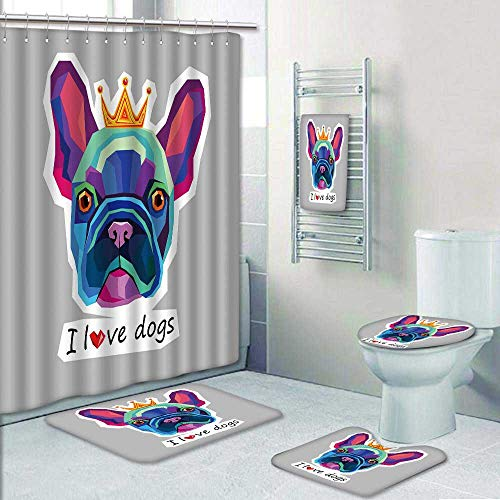 Philip-home 5 Piece Banded Shower Curtain Set Dog Breed Cute pet Animal Bulldog French Pattern Printing Suit by Philip-home