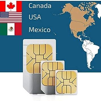 Tarjeta SIM Prepagada USA, Canadá Y México - 50 GB USA - 5 GB Canadá Y México Datos Móviles - Llamadas Y Mensajes Nacionales 15 Días