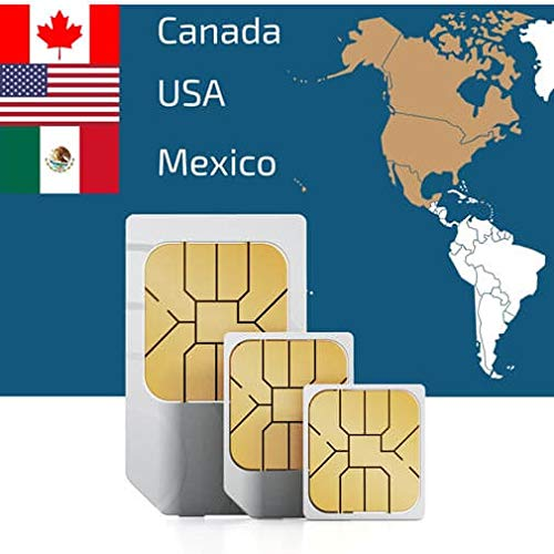 Prepaid SIM Card to Use in The USA, Canada & Mexico 50GB 4G/LTE Data, Unlimited Voice Calls & Text Messages Valid for 15 Days