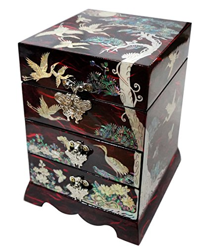 Mother of Pearl Pine Tree & Crane Design Jewelry Box Display Nacre Jewellry Case (Red) by JMcore High Quality Jewelry Box