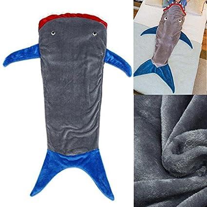 HITSAN - Saco de dormir para niños (franela de doble capa, tiburón, sirena
