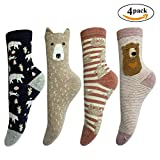 LOTUYACY Cute Animal Designe Women's Comfortable Cotton Crew Casual Socks - 4 Pack (Bear 2)
