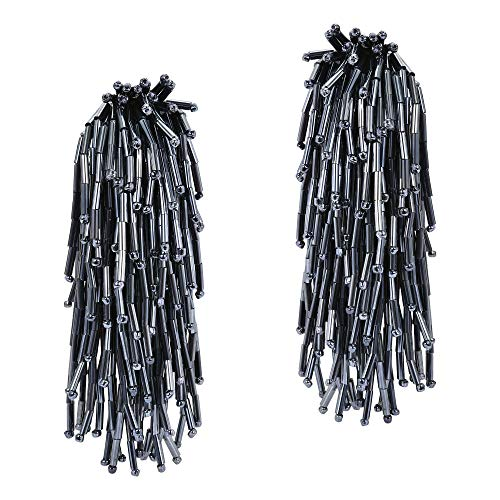 Beautiful Cascading Cluster of Black Metallic Beads Clip-on Earrings