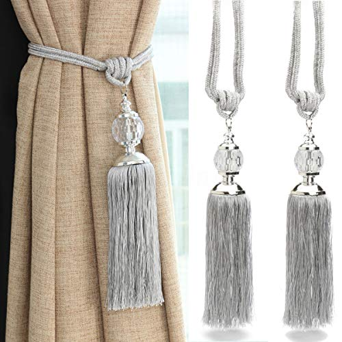 Rayon Curtain - goowrom Crystal Beaded Curtain Tie Back 2pcs Tassel Tie Backs for Curtain Beautiful Curtain Holdback Rope(Silver)