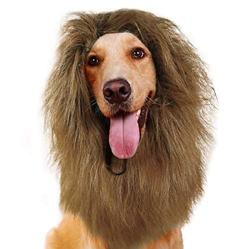 [Halloween Dog Lion Mane, Pet Lion Wigs, Festival Party Fancy Dress Clothes Costume Dog Hair Apparel for Small, Medium and Large Dogs (Light Brown, S)] (Cat Mane Costume Uk)