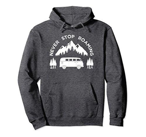 Unisex Retro Camping Van Hoodie, Never Stop Roaming Gift Large Dark Heather