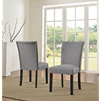 US Pride Furniture Sally Collection Classic Fabric Upholstered Dining Room Armless Accent Chair, Set of 2 Light Gray