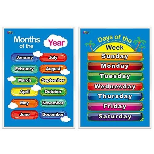Days of The Week, Months of The Year,2 Laminated Educational Posters for Toddlers,17