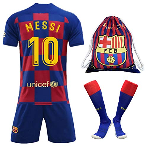 BADAWO #10 Messi Barcelona Home Kids/Youth Soccer Jersey 2019-2020 Matching Shorts,Socks & Drawstring Bag Red/Blue