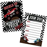 Monster Truck Birthday Party Invitations for Boys (20 Count with Envelopes) - Kids Truck Rally Invites - Monster Truck Party Supplies