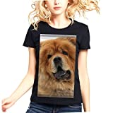 Womens Pet Chow Chow Dog Face 100% Contton Short-Sleeves tshirt.