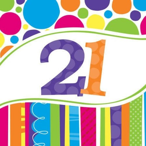 21st Birthday Napkins - Creative Converting 18 Count Bright and