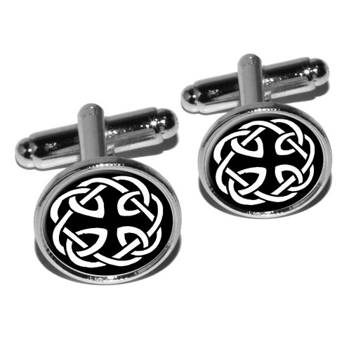 Celtic Knot Round Cufflink Set - Silver (Silver Cufflinks Knot Celtic)