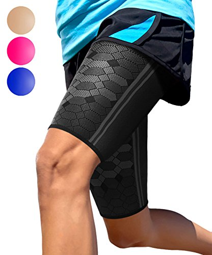 Thigh Compression Sleeve by SPARTHOS (Pair) – Upper Leg Brace for Men and Women Support for Bruised Tender Strained Muscles Pulled Hamstring Quad Brace Pain Relief Sports Injury Recovery (Black-M)