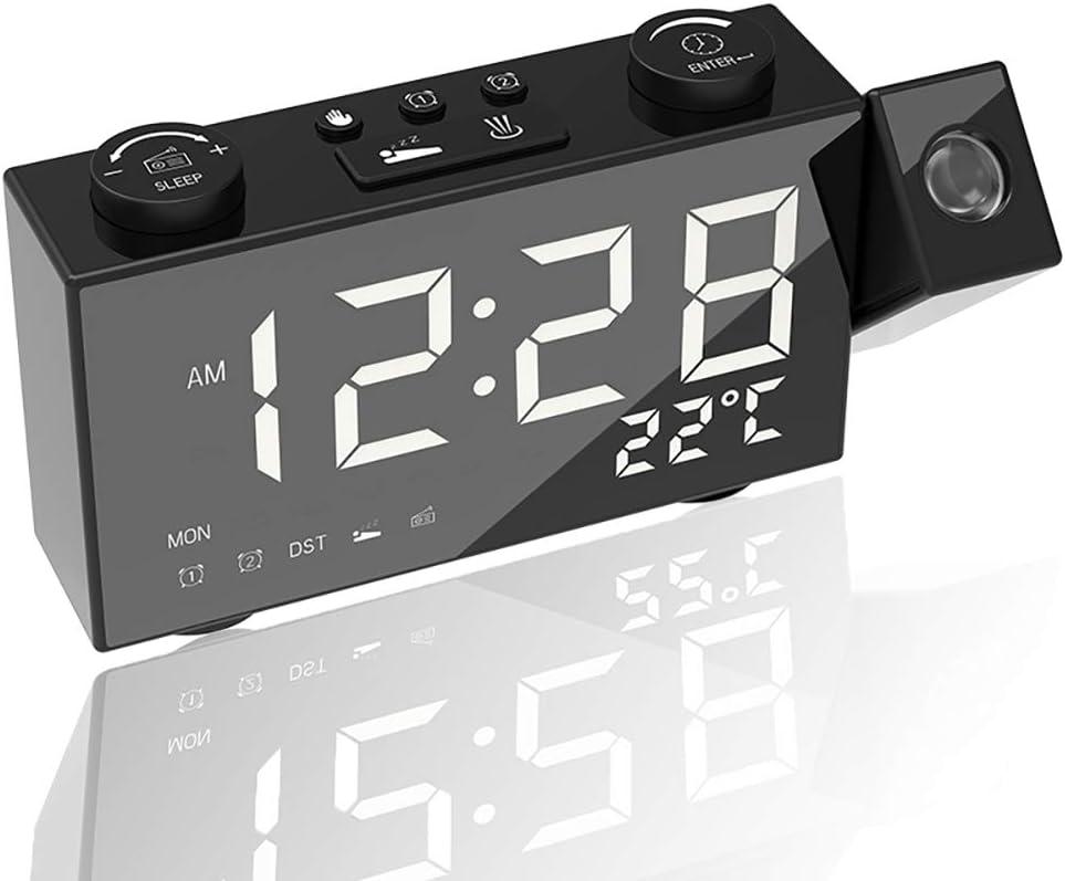 Carattere Bianco Okaya Orologio a proiezione Digitale con Radio FM,Orologio da Tavolo per Sveglia da Ufficio con termostato Snooze,Schermo LED HD da 6 Pollici,con Porta USB,per casa//Ufficio