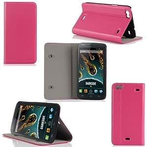 Buyus-Funda tipo libro para Wiko Darkside piel sintética, color rosa-Funda tipo libro con función atril para Wiko Darkside incluye protector de pantalla, color rosa, XEPTIO case!
