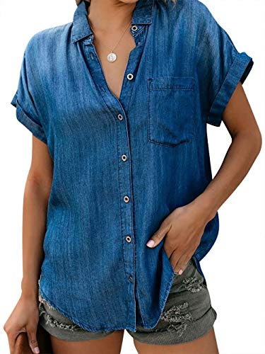 MYHALF Women Short Sleeve Denim Shirts Blouse for Women Casual Button Down Jacket Soft Denim Tops with Pockets