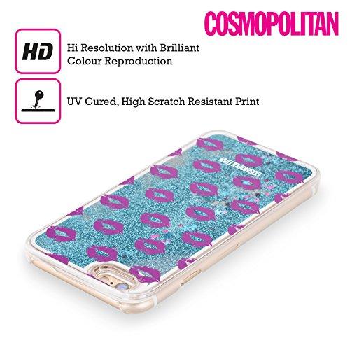 Official Cosmopolitan Purple Kiss Mark Sky Blue Liquid Glitter Case Cover for Apple iPhone 5 / 5s / SE