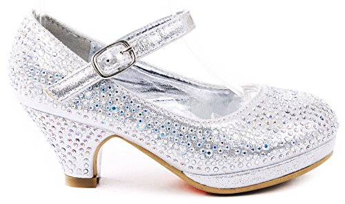 Dana Silver Kids Cute Mary Jane Rhinestone Glitter Formal Dress Low Heel Pumps-11 ()