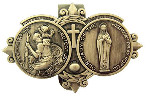 D-Trading Pewter Protect Us on Our Journey Auto Visor Clip - Saint Christopher with Our Lady of The Highway