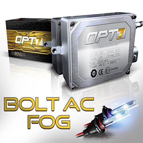 OPT7 Bolt 25w AC H1 Fog Light HID Kit - Relay Bundle - All Bulb Sizes and Colors - 2 Yr Warranty [6000K Lightning Blue Xenon]