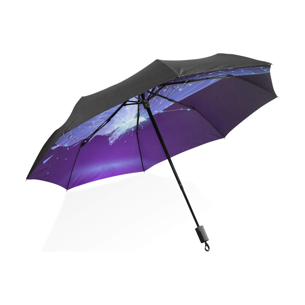 OREZI パープル バタフライ 自動 防風 防水 傘 ポータブル 旅行 傘 折りたたみ傘 強化 防風フレーム コンパクト 傘 レディース メンズ B07JNNX5QM