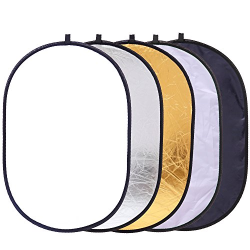 Collapsible 5-in-1 Oval Reflector 23''x35''/60x90cm Multi-Disc Light Reflector - Translucent, Gold, Silver, Black and White by TRUMAGINE