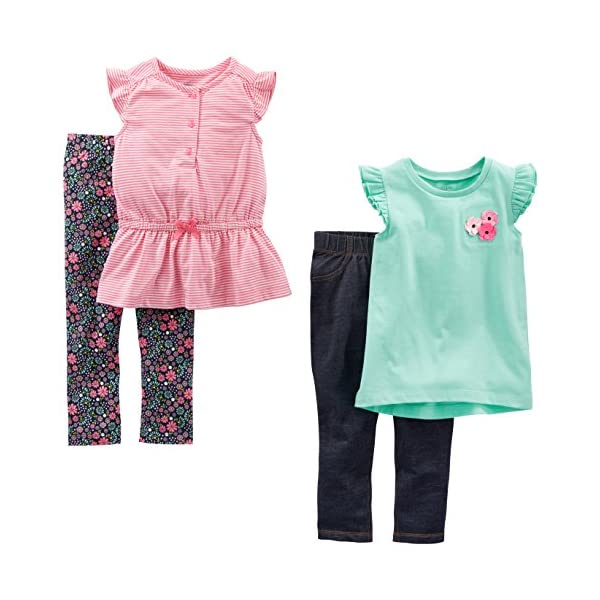 Simple Joys by Carters Toddler Girls 4-Piece Long-Sleeve Shirts and Pants Playwear Set