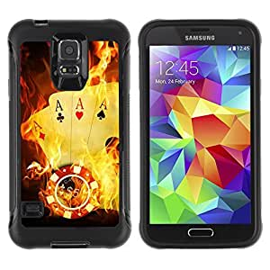 Hybrid Anti-Shock Defend Case for Samsung Galaxy S5 / Burning Ace Cards