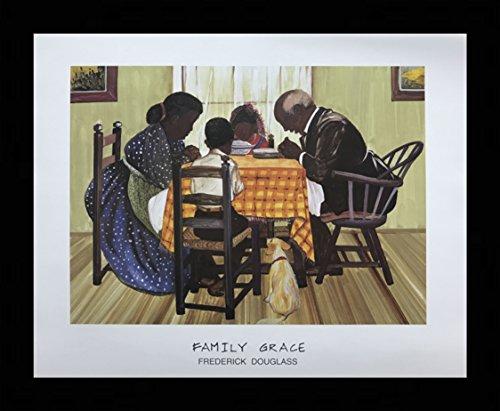 US Art Black 1.5 inch Framed with FAMILY GRACE (RELIGIOUS/AFRICAN AMERICAN BLACK ART/PRAYER/KITCHEN) Artist FREDERICK DOUGLASS 16x20 Black Art Print Poster (2- M - -