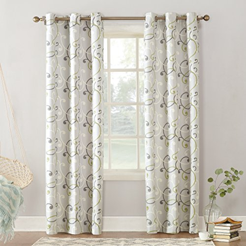 (Sun Zero Brice Scroll Print Thermal Insulated Energy Efficient Grommet Curtain Panel, 40