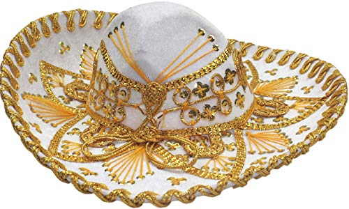 Charro Sombrero (Authentic Mariachi Flowers Style Hat Fancy Premium Mexican Sombrero Charro Hats Made in Mexico (Choose Size & Color) (Child, White/Gold))
