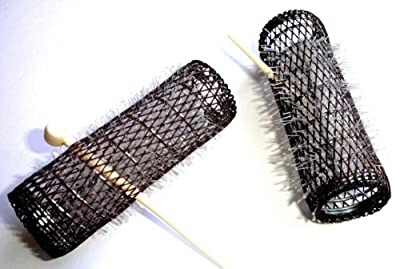 "2 Pack HAIR STYLING BRUSH ROLLERS & PINS Hair Curlers 7/8"" x 3"" Bristles (12 Rollers)"