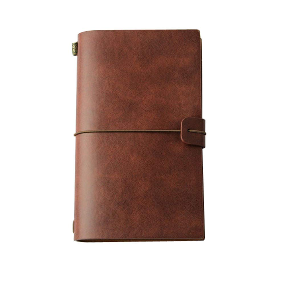 Sikye Classic Kraft Paper PU Leather Notebook Hardcover Writing Notebook Travel Journal Hand Book (browm)