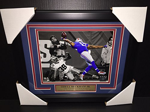 ODELL BECKHAM JR FRAMED 8x10 PHOTO NEW YORK GIANTS THE GREATEST CATCH EVER ()