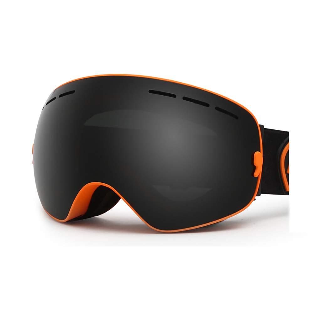 ダブルスキーゴーグル防曇ゴーグル男性と女性の専門オートバイの雪ミラー抗UVカード近視  D